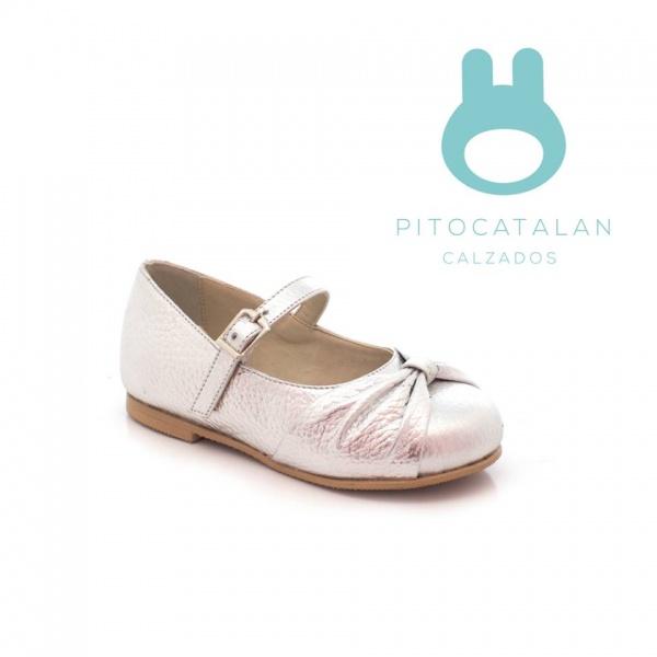 zapato de cuero plateado niña Pitocatalan otoño invierno 2018