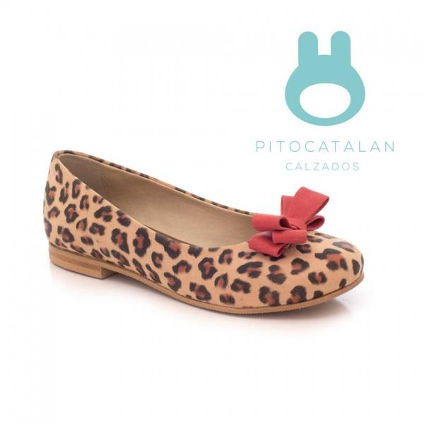 zapato niña cuero animal print moño Pitocatalan otoño invierno 2018