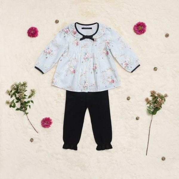 blusa floreada para beba Little Akiabara invierno 2018