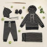 conjunto de plush a rayas bebe Little Akiabara invierno 2018