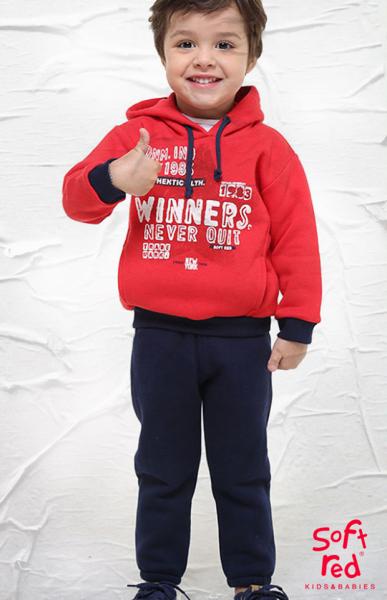 conjuntos de jogging con frisa niños Soft red otoño invierno 2018
