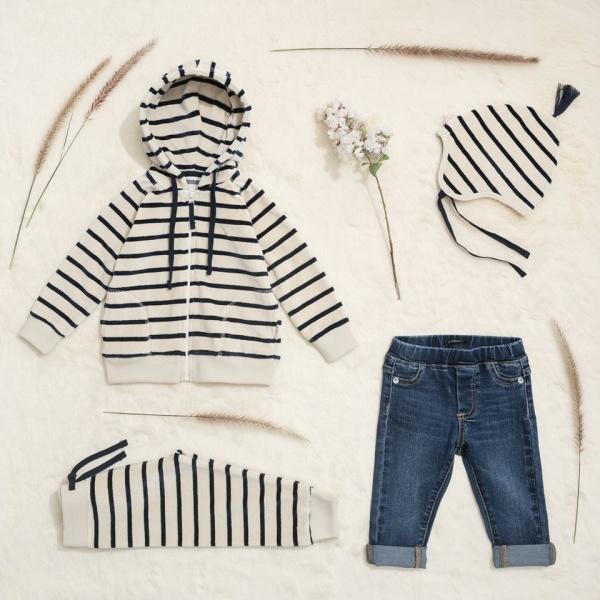 jeans para bebe campera a rayas Little Akiabara invierno 2018