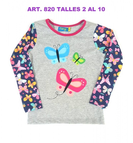 remera gris con mariposas Flow kids invierno 2018