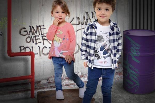 remeras mangas largas y jeans para chicos Soft red otoño invierno 2018