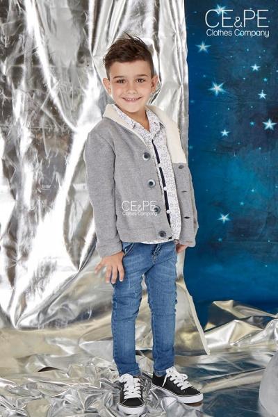 saco de aldodon con friza y camisa estampada niños ce pe otoño invierno 2018
