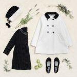 tapado blanco y vestido negro con lunares blancos niña Little Akiabara invierno 2018