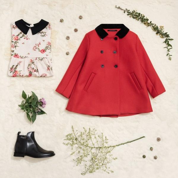 tapado rosa chicle de paño para niñas Little Akiabara invierno 2018