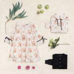 vestido blanco con flores rosas niña Little Akiabara invierno 2018