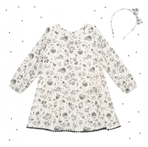 vestido corto estilo tunica estampada niña Broer Enfants otoño invierno 2018