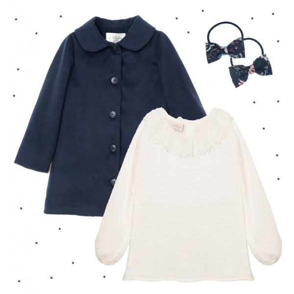 vestido corto mangas largas blanco con puntilla Broer Enfants otoño invierno 2018