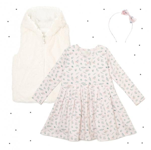 vestido corto mangas largas con falda plisada estampado niñas Broer Enfants otoño invierno 2018