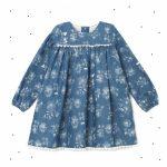 vestido corto mangas largas floreado azul niña Broer Enfants otoño invierno 2018