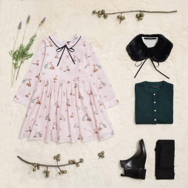 vestido corto mangas largas para niñas Little Akiabara invierno 2018