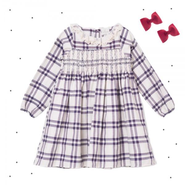 vestido corto mangas largas punto smock con volado en el cuello Broer Enfants otoño invierno 2018