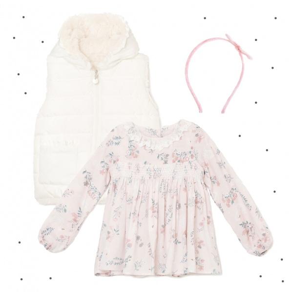 vestido corto mangas largas rosa palido niña Broer Enfants otoño invierno 2018