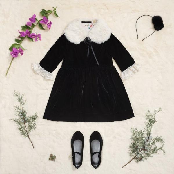 vestido gamuzado niña Little Akiabara invierno 2018