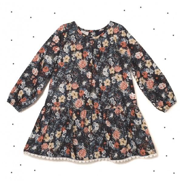 vestido negro mangas largas corto con volado floreado Broer Enfants otoño invierno 2018