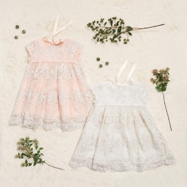 vestidos de tul bordado para beba Little Akiabara invierno 2018