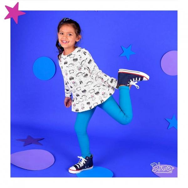 buzo niña estampado de algodon largo estilo vestido con calza Bluma invierno 2018