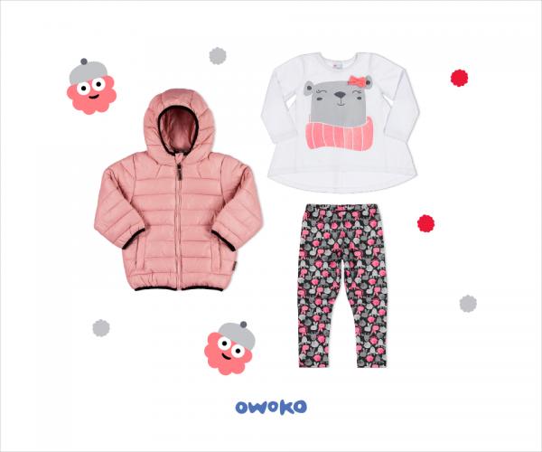 campera plumas remera asimetrica mangas largas y calza estampada niña owoko invierno 2018
