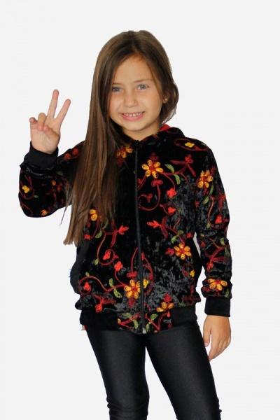 campera terciopelo bordada y calza negra niña dilo tu ropa divertida para niños invierno 2018