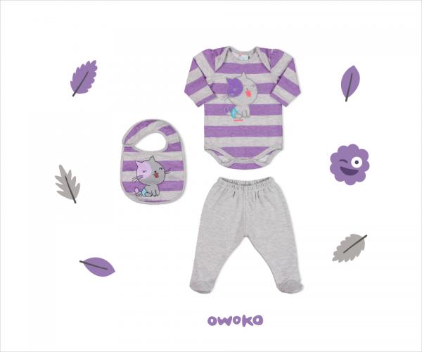 conjunto body a rayas y ranita beba owoko invierno 2018