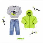 jeans buzo friza con estampa y campera inflada para niños owoko invierno 2018