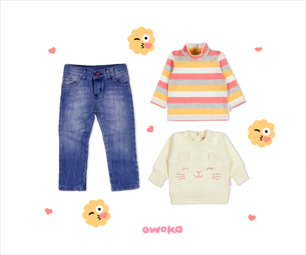 polera a rayas y buzo plush con jeans beba owoko invierno 2018