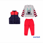 remera mangas largas chaleco y pantalon de algodon con bolsillos nene owoko invierno 2018