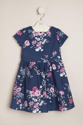 vestido azul floreado con falda plisada Magdalena Esposito invierno 2018
