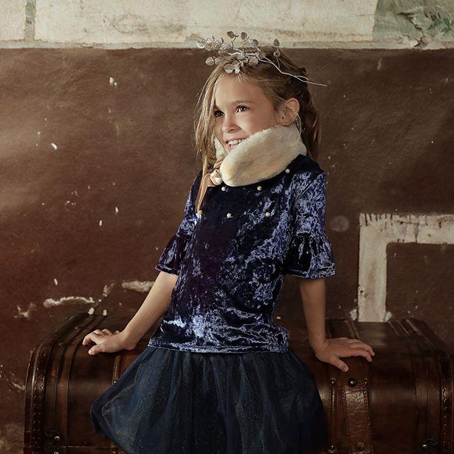 vestido azul oscuro de fiesta para niña Gro otoño invierno 2018