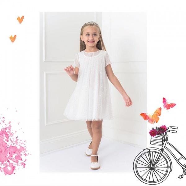 vestido corto mangas cortas de microtul para niña Magdalena Esposito invierno 2018