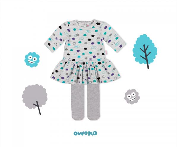 vestido corto mangas largas para beba con calza owoko invierno 2018