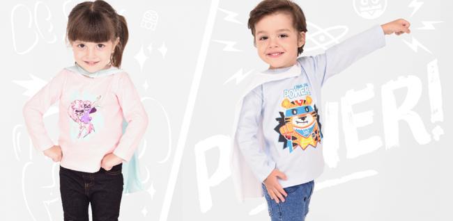 remeras super heroes niños con capa mangas largas pecosos invierno 2018