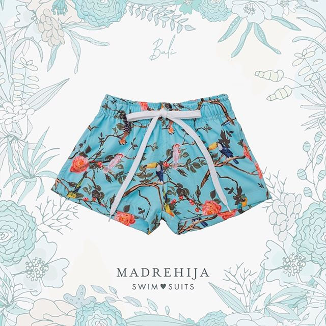 short de baño estampa flores y pajaros Madrehijas swim suits verano 2019