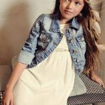 vestido blanco y campera de jeans con apliques niña Menta chocolate verano 2019