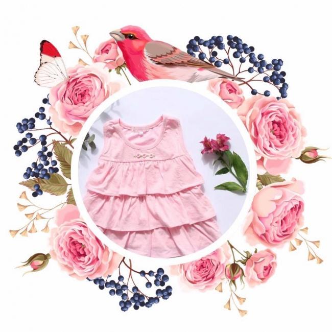 vestido de algodon para beba rosa con volados lelefanteino primavera verano 2019