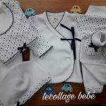 ajuar para bebe blanco con lunares azules lecollage verano 2019