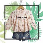 blusa mangas largas beba con camesu drapeado y short de jeans con apliques babu moda infantil primavera verano 2019