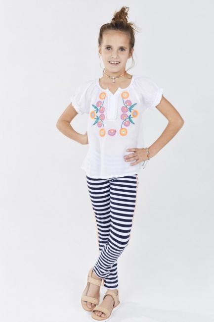 calza rayada nena con bamisola bordada Rapsodia kids Girls primavera verano 2019