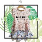minifalda con tablas y blusa con volados de plumeti para beba babu moda infantil primavera verano 2019