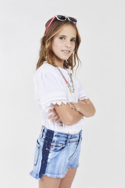 short jeans y camisola blanca con puntilla para nenas Rapsodia kids Girls primavera ver