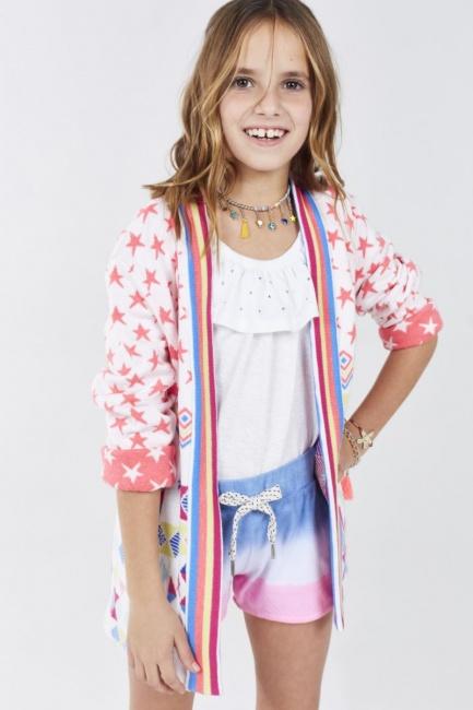 short tricolor con blusa blanca y kimono al tono Rapsodia Girls primavera verano 2