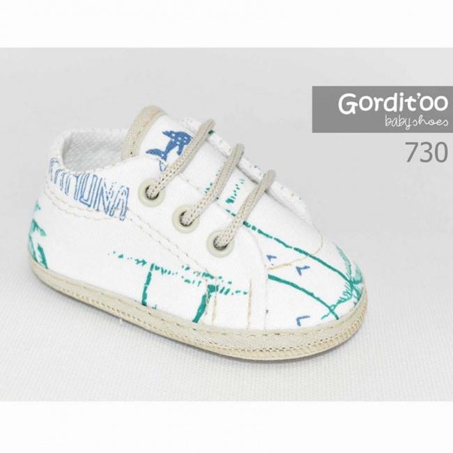 zapatilla blanca detalles tropicales bebe gorditto primavera verano 2019