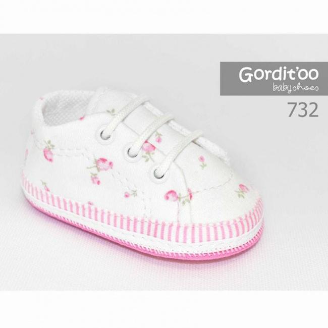 zapatilla blanca flores rosas beba gorditoo primavera verano 2019
