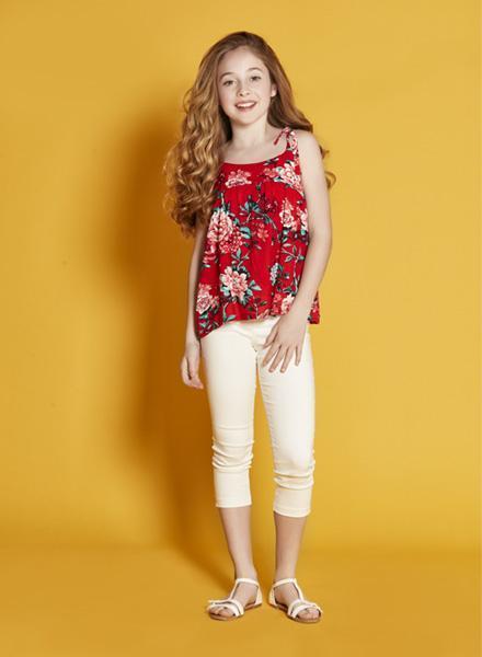 blusa fibrana rojo con flores Nucleo nenas verano 2019