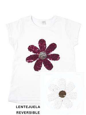 remera con flor de lentejuela reversible Paul Carty verano 2019