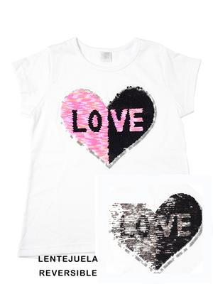 remera lentejuela niña love Paul Carty verano 2019