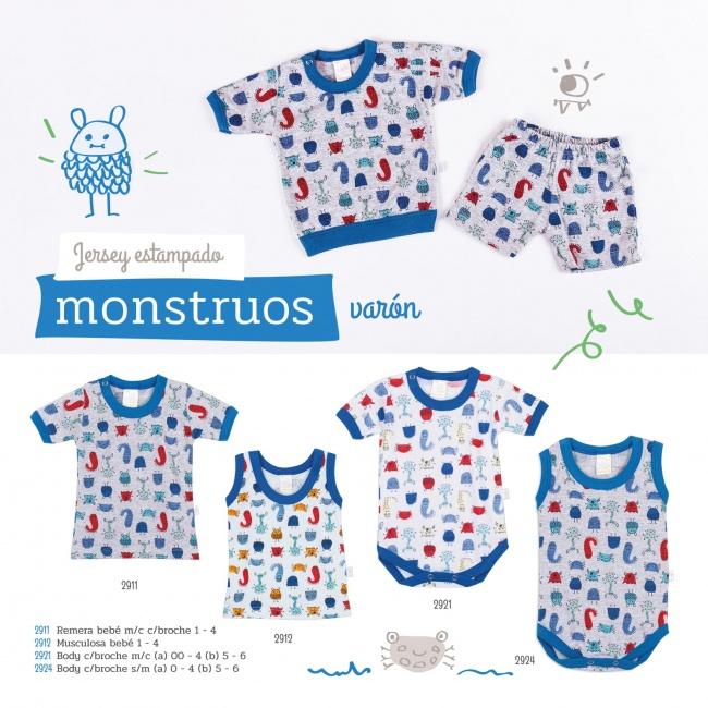 ropa para bebes estampa monstruos Naranjo verano 2019