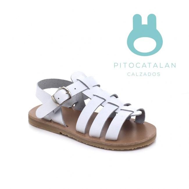sandalia de cuero blanca para niña Pitocatalan Primavera verano 2019